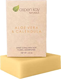 Aloe Vera & Calendula Soap, 100% Natural & Organic, With Organic Aloe Vera, Calendula & Turmeric. Use As a Face Soap, Body Soap or Shaving Soap. For Men, Women, Teens and Baby. Gentle Soap. 4oz Bar