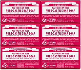 Dr. Bronner's - Pure-Castile Bar Soap (Rose, 5 ounce, 6-Pack) - Made with Organic Oils, For Face, Body and Hair, Gentle an...