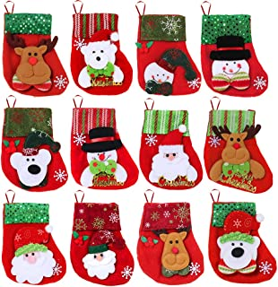 Winlyn 12 Pcs Mini Christmas Stockings Kits Assorted Designs with 3D Santa Reindeer Snowman Bear for Holiday Treat Bags Kids Goodie Bags Christmas Tree Ornaments Gift Card Silverware Holders 6