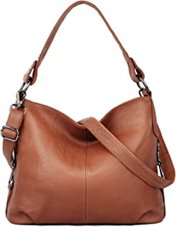 YALUXE Genuine Leather Shoulder Bag Stylish Womens Tote Travel Top-Handle brown Size: Large