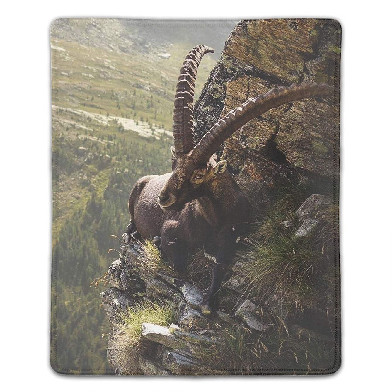 Nature Animals Horns Chamois Landscape Mousepad Game Office Thicker Mouse Pad Decorated Mouse Mat -8.66 x 7.08 inch