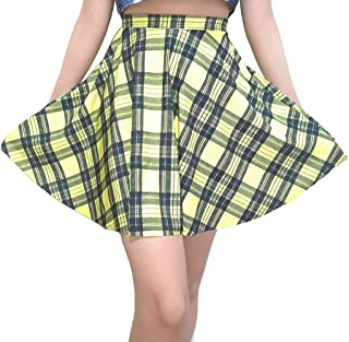 Women's Pleated Elastic Waist Band Flared Printed Midi Skater