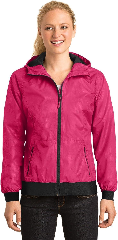 Sport-Tek Women's Embossed Hooded Wind Jacket LST53 Pink Raspberry/Black Small