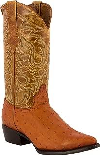 Team West - Men's Cognac Ostrich Quill Print Leather Rodeo Cowboy Boots