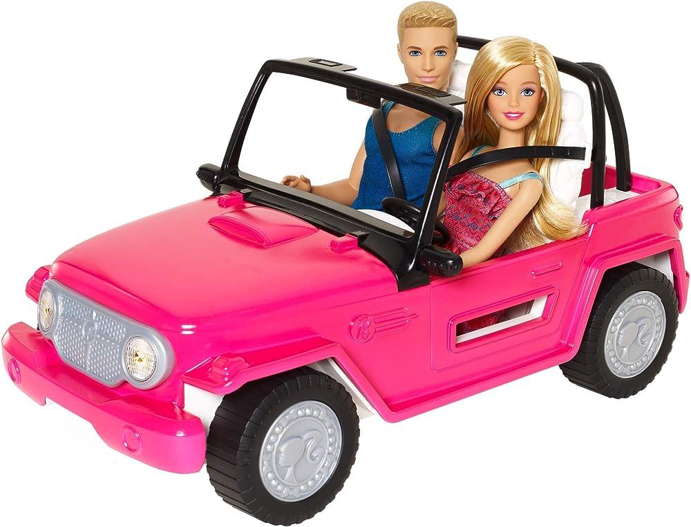 Barbie, jeep da spiaggia playset ,con barbie e ken e suv rosa CJD12