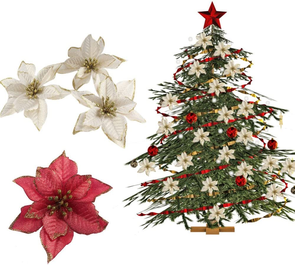 Home Decor Red 5 5inch 14cm 12pcs Glitter Poinsettia Christmas Tree Ornament Artificial Wedding Christmas Flowers Xmas Tree Wreaths Decor Ornament Red And Gold For Choice Home Newid Com Sg