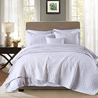 Quilt Set King, Cotton World Li Premium 3 Piece Oversized Coverlet Set White as Bedspread Bed Cover Reversible Elegant Luxury Comfortable Lightweight - Wrinkle & Fade Resistant-King/California King