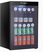 Beverage Refrigerator and Cooler, 85 Can or 60 Bottles Capacity with Smoky Gray Glass Door for Soda Beer or Wine,Compressor Touch Panel Digital Temperature Display (2.3cu.ft)