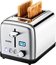 Toaster, HoLife 2 Slice Best Rated Prime Toasters [LCD Dispaly] Stainless Steel Bagel Toaster (6 Bread Settings, Bagel/Defrost/Reheat Function, 1.5