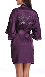 أرواب وصيفة العروس الحريرية للسيدات من SUGAR JAN لحفلات الزفاف مع أحجار الراين ثوب ثوب نوم مع جيوب