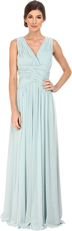 Jessica simpson pleated chiffon gown w t back at 6pm.com