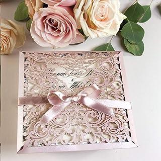 Hazlo tu mismo! Rosa Brillante Invitaciones de boda Tarjetas con cinta y sobres La tarjeta lo invita a una fiesta de compr...