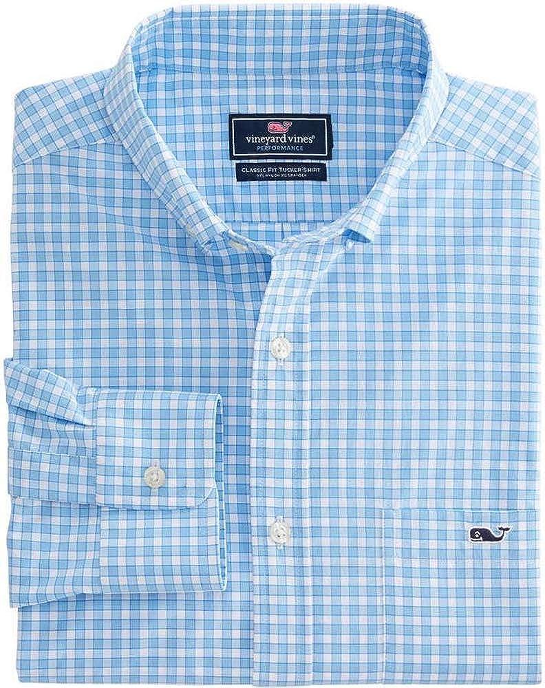 Vineyard Vines Men's Big & Tall Bermuda Check Performance Shirt (4XB) Blue