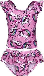 Jurebecia Girls Unicorn One Piece Two Piece Swimsuit Rainbow Bathing Suits Kids Swimwear Toddlers Tankini 1-10 Years