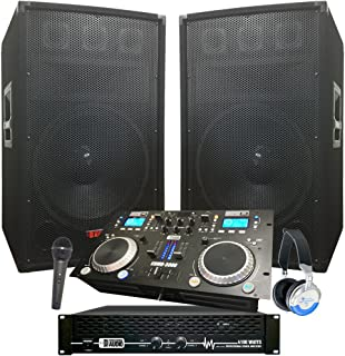 """Rock The House DJ System - 4100 WATT DJ System - Connect your Laptop, iPod, USB, MP3's or Cd's! 15"""" Speakers, Amp, Mixer/Cd Player, Mic, Headphones."""