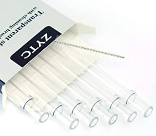 Plastic Straws for YETI, Reusable Clear Transparent Straight Drinking Straws, Set of 6 with 2 Cleaning Brushes