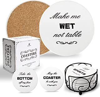 BRAINWAVE Coasters for Drinks,6 Pcs Ceramic Cork Coasters with Holder,Absorbent Drink Coasters for Tabletop Protection, U...