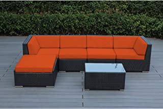 Ohana 6-Piece Outdoor Patio Furniture Sectional Conversation Set Black Wicker with Sunbrella Tuscan & Amazon.com: Orange Patio Furniture Sets