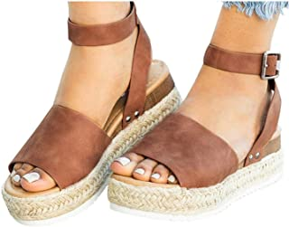 f10211653d Mafulus Womens Espadrilles Platform Sandals Wedge Ankle Strap Studded Open  Toe Summer Sandals