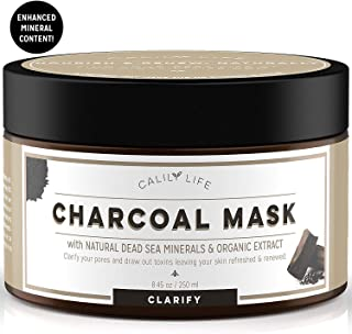 Calily Life Organic Deep Cleansing Activated Charcoal Mask with Dead Sea Minerals, 8. 45 Oz. – Natural Wash-off Treatment - Minimizes and Cleanses Pores, Hydrates and Revitalizes Skin [ENHANCED]