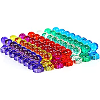 66 Pack 6 Assorted Color Strong Magnets Use at Home School Classroom and Office Magnets Push Pin Magnets Magnets for Refrigerator Dry Erase Board and Whiteboard Magnets Refrigertor Magnets