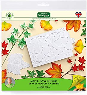 Maple, Ivy, Ginkgo Leaves and Veiner Silicone Sugarpaste Icing Mold, Flower Pro by Nicholas Lodge for Cake Decorating, Crafts, Cupcakes, Sugarcraft, Candies and Clay, Food Safe, Made in the UK