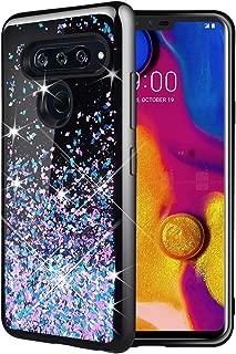 Caka LG V40 ThinQ Case, LG V40 ThinQ Glitter Case Starry Night Series Luxury Fashion Bling Flowing Liquid Floating Sparkle Glitter Soft TPU Black Case for LG V40 ThinQ 2018 (Blue Purple)