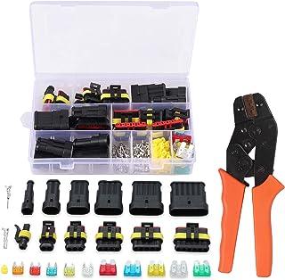 Proster AM072SAN Wasserdichter Drahtstecker, 224 Stück, 1/2/3/4/5/6 polig, elektrischer Stecker mit Mini Flachsicherungen, Terminal Crimper Set für Motorrad, Auto, LKW usw.