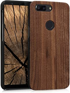 kwmobile OnePlus 5T Wood Case - Non-Slip Natural Solid Hard Wooden Protective Cover for OnePlus 5T