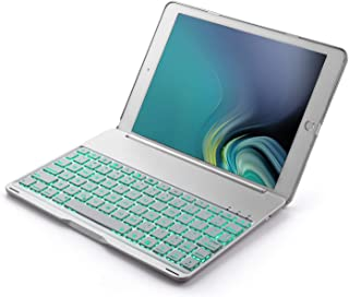 iPad 6th Generation Case with Keyboard Compatible for 2017 iPad 9.7 5th Gen, iPad Air 1 -7 Color Backlits ipad 9.7 Keyboard Case-Auto Sleep/Waked -Sturdy Clam Shell with Back Circle Cutout(Silver)