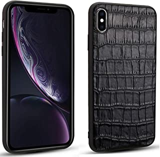 iPhone X/iPhone Xs Case [Wireless Charging Compatible] Reginn Slim Fit Genuine Leather Coated TPU Phone Case for iPhone X/iPhone Xs (Crocodile Pattern Black)