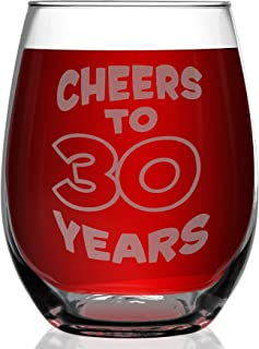 Shop4Ever Cheers To 30 Years Laser Engraved Stemless Wine Glass ~ 30th Birthday Gift 1989 Dirty 30 Talk Thirty to Me ~ (15 oz.)