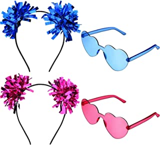 4 Pieces Christmas Glitter Pompom Ball Headband and Heart Shape Glasses for Festival Party Accessory