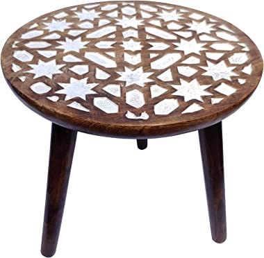 The Urban Store Hand Crafted 3 Legged Wooden Decorative Accent/End Table (Shabby White, 14x14x14-inch) (TUSTB17)