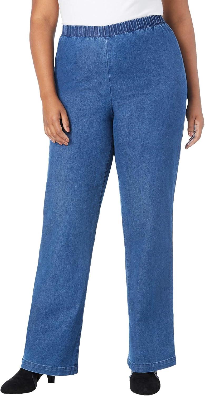 Roamans Women's Plus Size Wide-Leg Pull-On Stretch Jean Elastic Waist