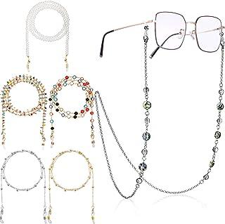 6 قطع خرز نظارات سلاسل نظارات نظارات حزام حامل تغطية الوجه حبل ملون مطرز نظارات مثبّت جي إل قلادة سلاسل للنساء