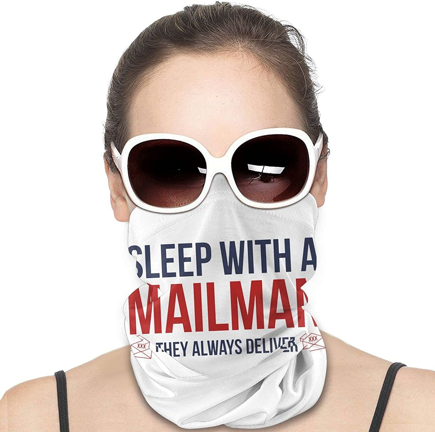 Sleep With A Mailman Round Neck Gaiter Bandnas Face Cover Uv Protection Prevent bask in Ice Scarf Headbands Perfect for Motorcycle Cycling Running Festival Raves Outdoors