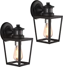 Untrammelife Industrial Outdoor Wall Lantern, Set of 2 Texture Black 10.5''H Outdoor Barn Light Fixtures with Clear Glass ...