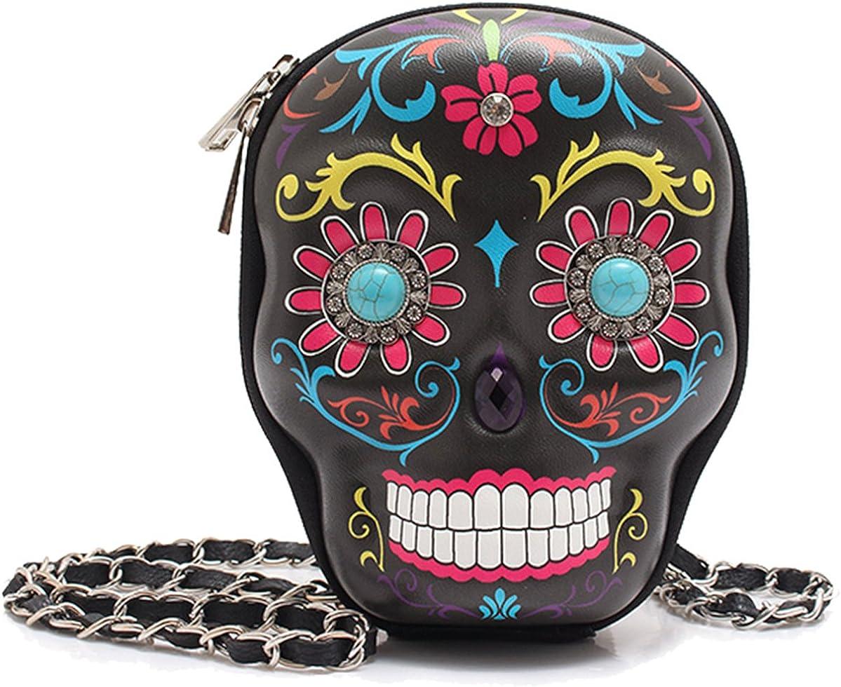 Cowgirl Trendy Day of The Dead Sugar Skull Art Purse Hipster Cross Body Messenger Shoulder Bag Black