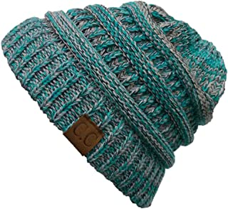 Trendy Warm Chunky Soft Marled Cable Knit Slouchy Beanie