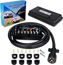 WATERWICH Heavy Duty 7 Way Trailer Plug Cord with 7 Gang Junction Box 8 Feet Harness Inline Copper Blade Wire Connector Weatherproof for RV Tow Truck Commercial Vehicle (8 Feet with Junction Box)