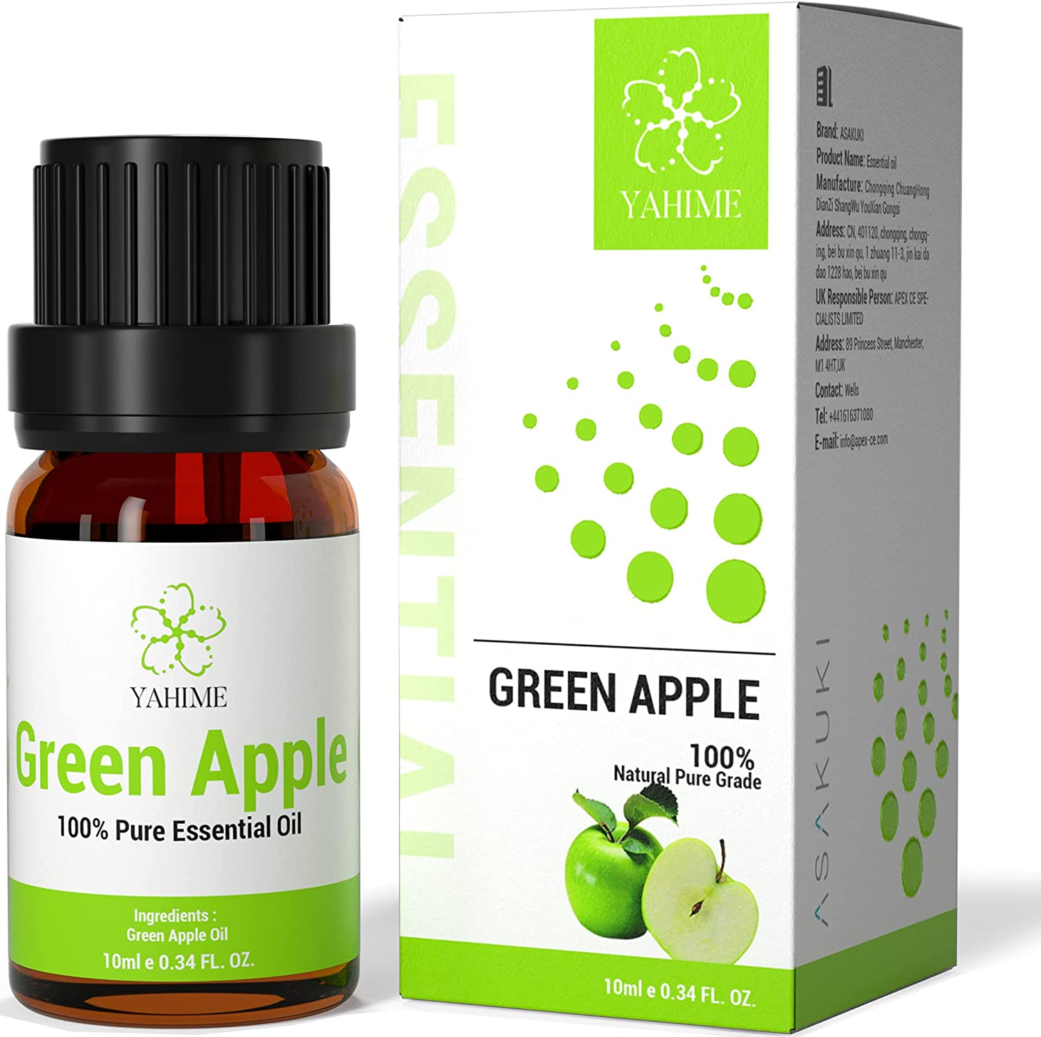 ASAKUKI Green Apple Essential Oils for Diffusers, Candle&Soap Making-100% Natural Aromatherapy Oil for Skin Care, Stress Relief&Mind Calming with Fruit Scent-10ml YAHIME Infinite