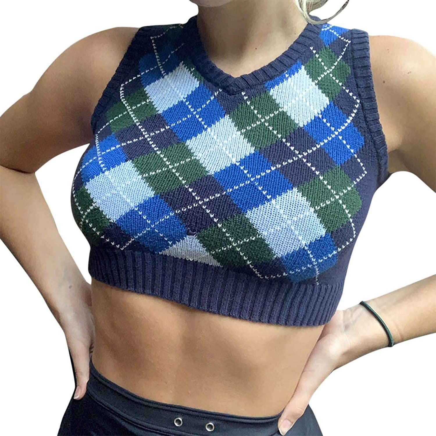 Women's Knitted Cotton V-Neck Vest JK Uniform Pullover Y2k 90s E-Girl Sleeveless Crop Sweater School Cardigan (Blue Checkered Crop Top,Small)