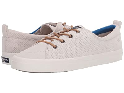 Sperry Crest Vibe PlushWave Pin Perf Leather (Snow White) Women