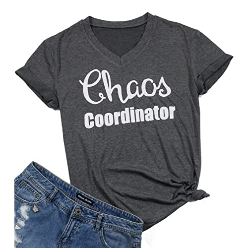 3d5157b07 LUKYCILD Women Chaos Coordinator Tshirt Cute Funny Letter Print V Neck Shirt  Top