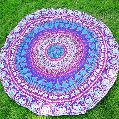elchom rund indischen Mandala Boho Strandtuch Überwurf Roundie Tischdecke Bezug Yoga Matte Decke Wandbehang Tapisserie 149,9x 149,9cm