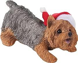 Sandicast Yorkshire Terrier with Santa Hat Christmas Ornament