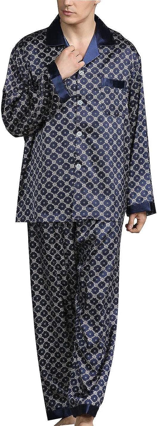 PUWEI Men's Long Sleeve Silk Satin Classic Printed Pajama Set Luxury Silky Pajamas