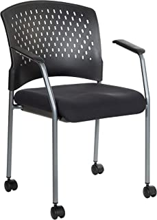 Office Star Ventilated Plastic Back and Padded Coal FreeFlex Seat, Fixed Arms, Titanium Finish Stacking Visitors Chair with Casters, Black
