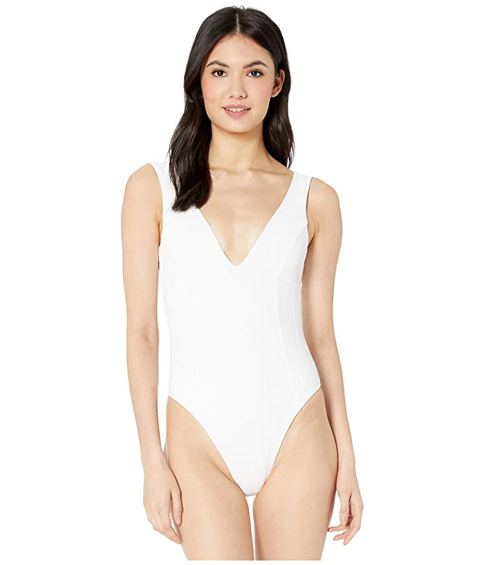 L*Space Clear Water Texture Sunscape One-Piece (White) Women